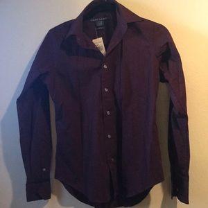 Ralph Lauren maroon button up blouse